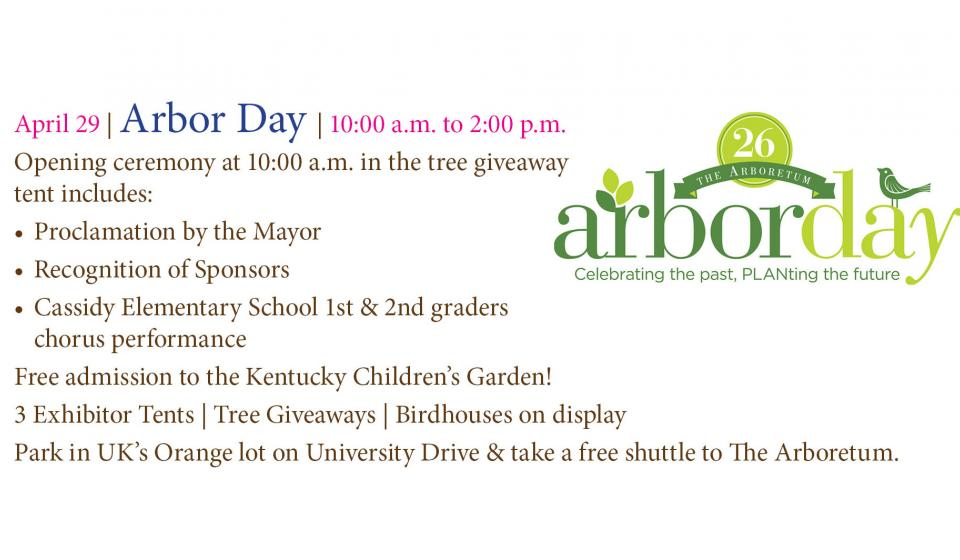April 29 Arbor Day 10am-2pm
