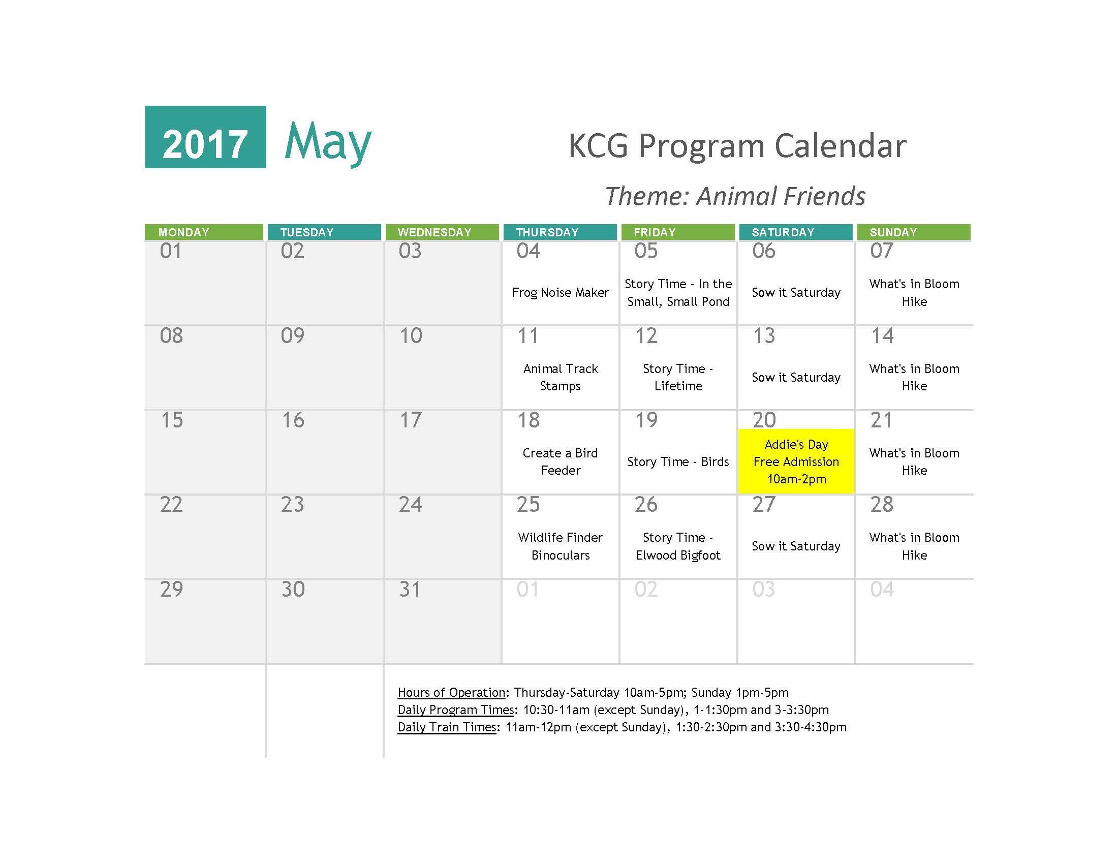 May Program Calendar